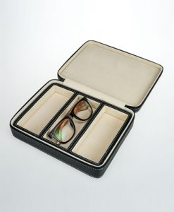 Leather Glasses Box-3GL-B-open | Zoser