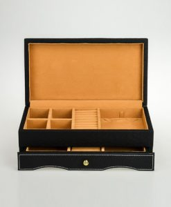 Leather Jewelry Box-PG203BBr-open1 | Zoser