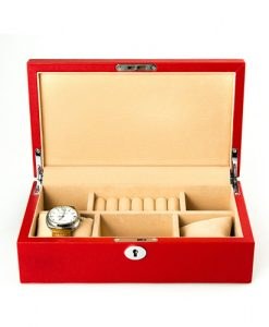 Leather Jewelry Box-PG204RC-open2 | Zoser
