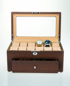 Leather Watch Box-10+12MBrC-open1 | Zoser