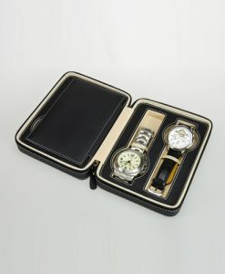 Leather Watch Box-4W-PU-B-open1 | Zoser