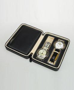 Leather Watch Box-4W-PU-B-open1 | Zoser