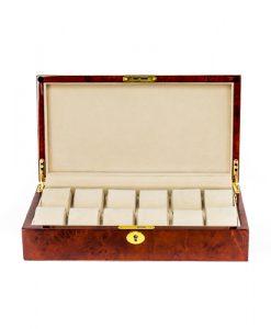 Wooden Watch Box-803-12DBC-open1 | Zoser